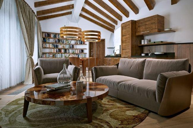 Interior Ruang Tamu Gaya Rustic