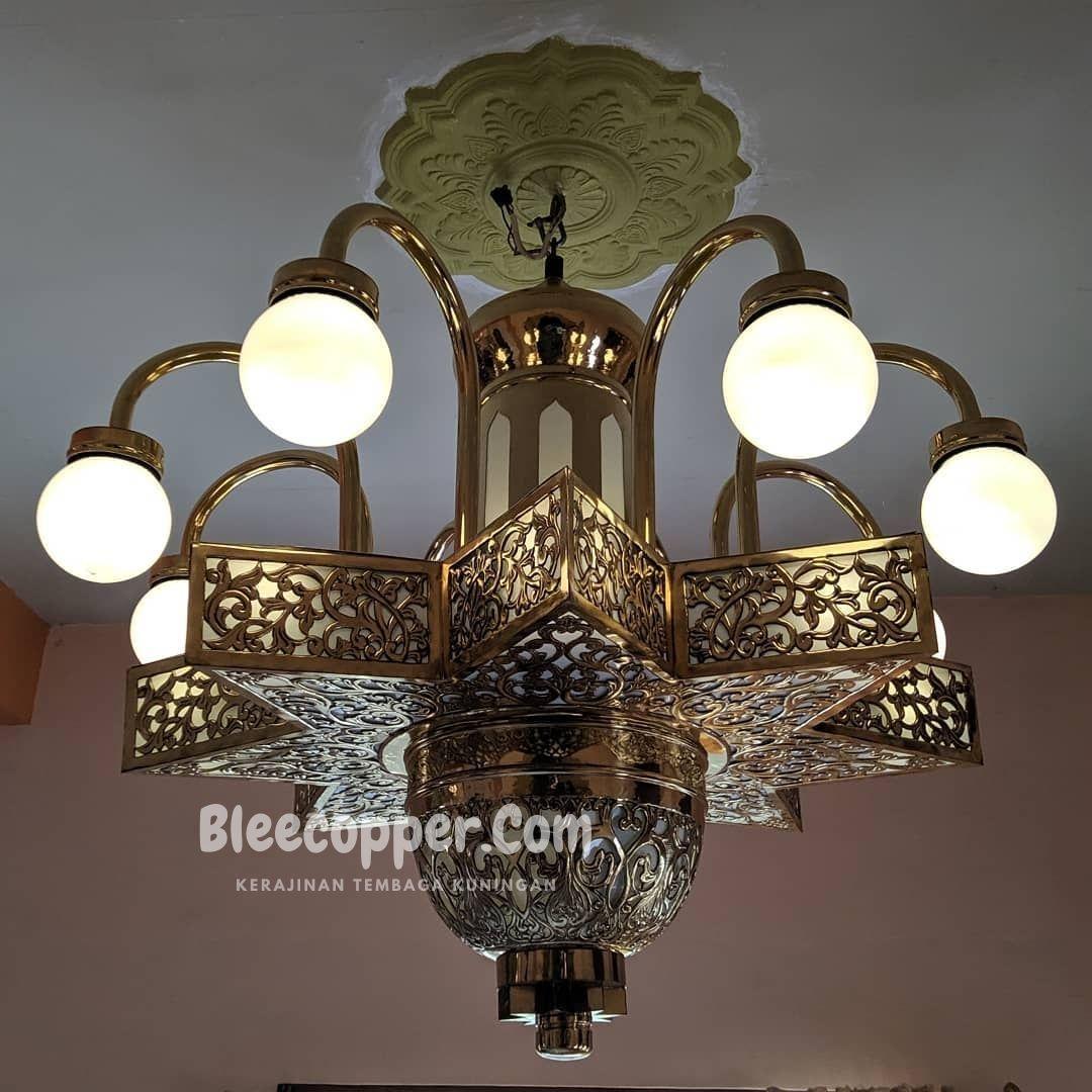 Lampu Masjid kuningan Motif Bintang Maroko